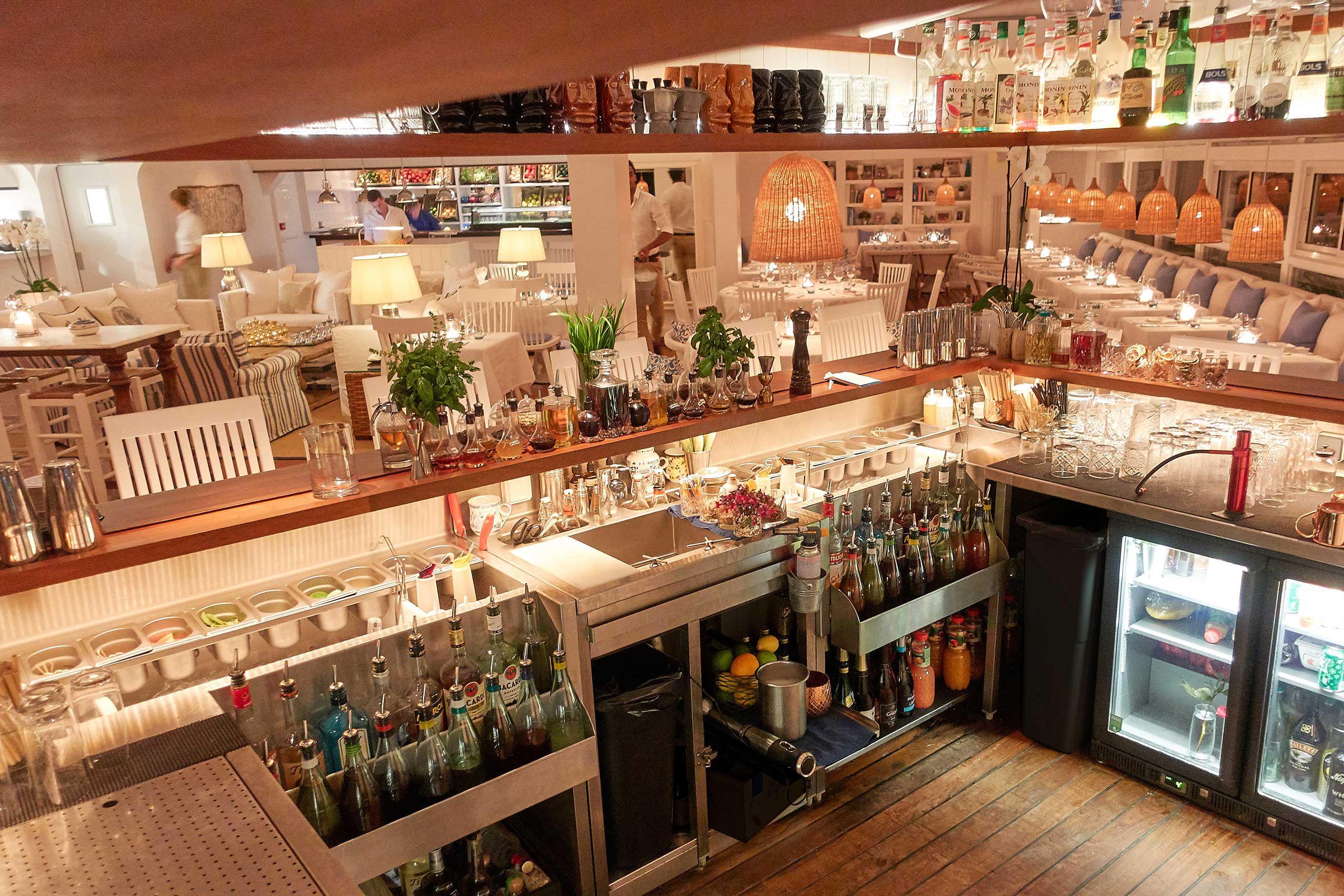 custom cocktail station at st Barht